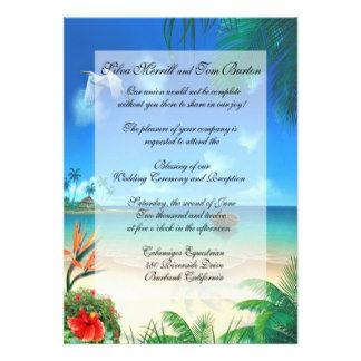 Exotic Beach Wedding Faux Vellum Invitation