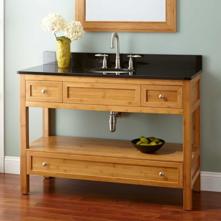 Clear varnished chestnut wood narrow despth cabinet vanity for Skinny vanity table