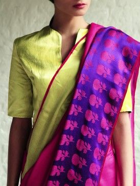 Love the block print motif and the color combination. Phulbarhi Fushia-Purple Cotton-Silk Saree By Raw Mango