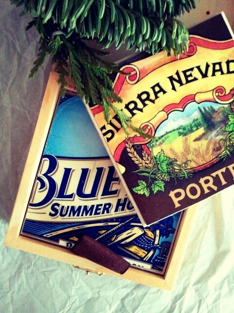 Beer box coasters, quick DIY gift for guys.  LoL I have actually been saving beer cartons that I like the artwork on...thinking I'd come up with a cool use.  Well someone did that for me! TY TY