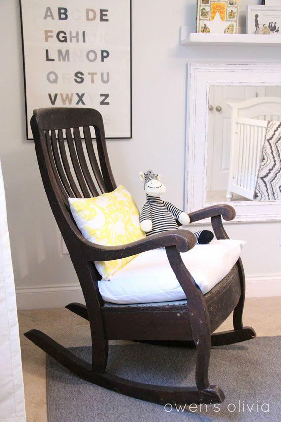 nursery inspiration natural and neutral. I have just the rocking chair to fix up!