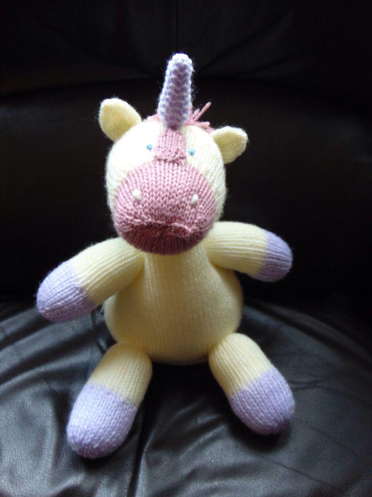 Knitted Stuffed Unicorn - Custom Made Gift by SylvanStitches on Etsy https://www.etsy.com/uk/listing/564337454/knitted-stuffed-unicorn-custom-made-gift