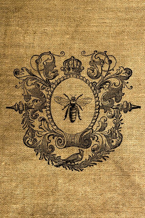 Bee print on linen