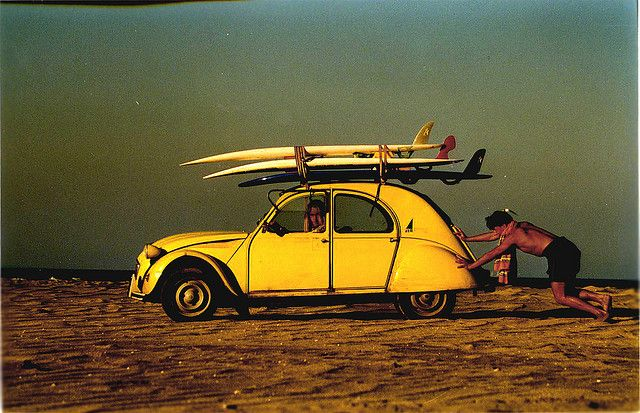 2cv - my English friend told me that is what he did on the weekends, drive a 2CV full of surfboards and windsurfers to the beach.