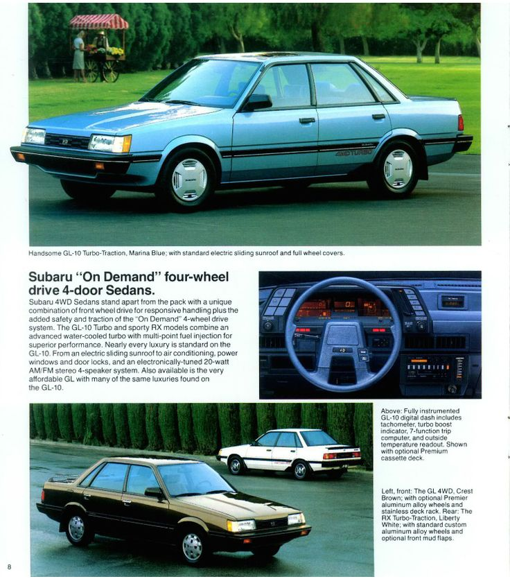 1986 #Subaru #Sedans with On-Demand #4WD.  #turbo. Mine was same color as top picture, all optioned, including adjustable suspension, white 5spoke wheels.