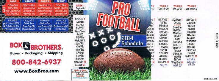 2014 Pro Football Schedule.