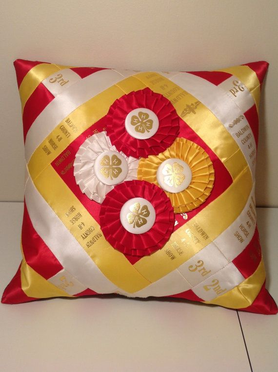 Horse Show Ribbon Pillow - MADE TO ORDER....Diagonal Diamond Design - Personalized Handmade Horse / Dog / Equestrian Show Ribbon Pillow
