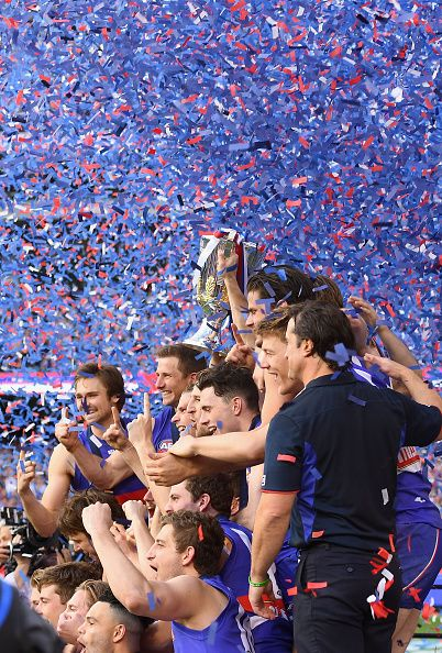 #AFLGF2016 The Western Bulldogs pose with the Premiership Cup after winning the 2016 AFL Grand Final match between the Sydney Swans and the Western Bulldogs at...