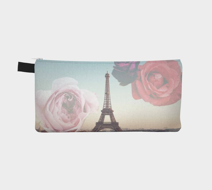 Paris Flower Pencil Case, gift for her, Accessories Pouch, bag, gift under 20 by CreateBeing on Etsy