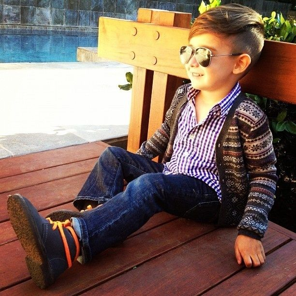 His glasses are reflecting the blinding light of his bright future. | 25 Kids Too Trendy For Their Own Good