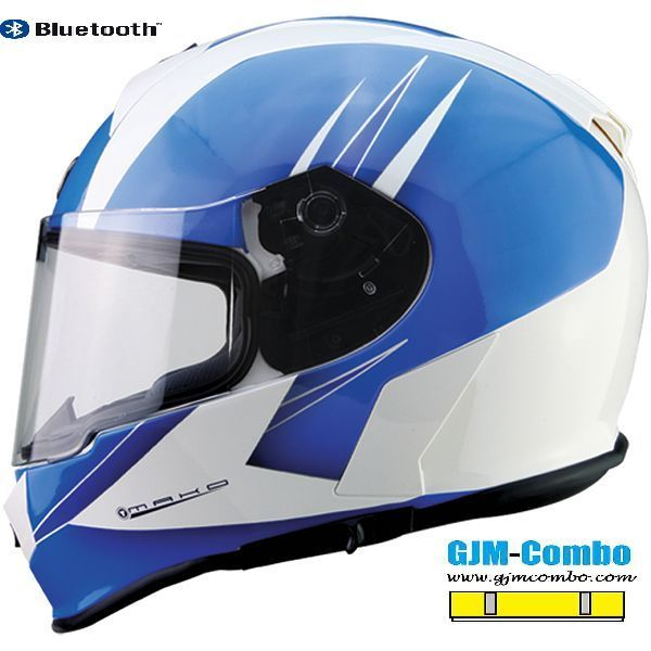 Torc T14B Blinc Bluetooth Martini Light Blue w/ Clear Shield Motorcycle Helmet #TORC #Motorcycle