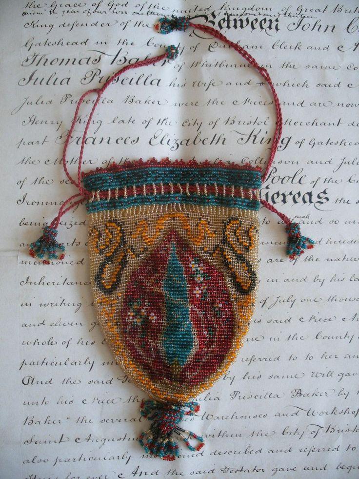 Beaded beadwork purse bag. Late-Ottoman era, early 20th century.