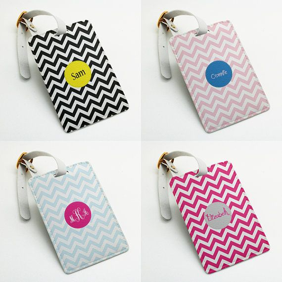 Personalized Luggage Tag Bag Tag Travel Tag by BeanBeanCase, chevron zigzag pattern