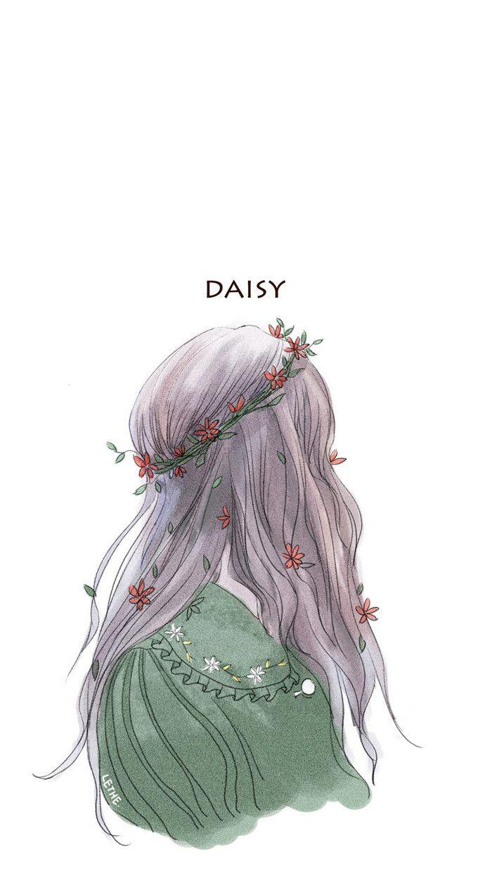 背影女孩。-林井西__涂鸦王国插画
