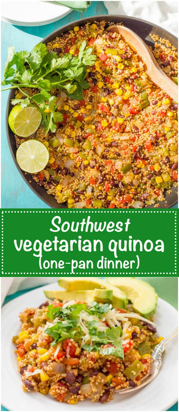 Southwest vegetarian quinoa skillet is a quick and easy one-pan dinner recipe that's healthy but very filling and perfect for meatless Monday! | www.familyfoodonthetable.com