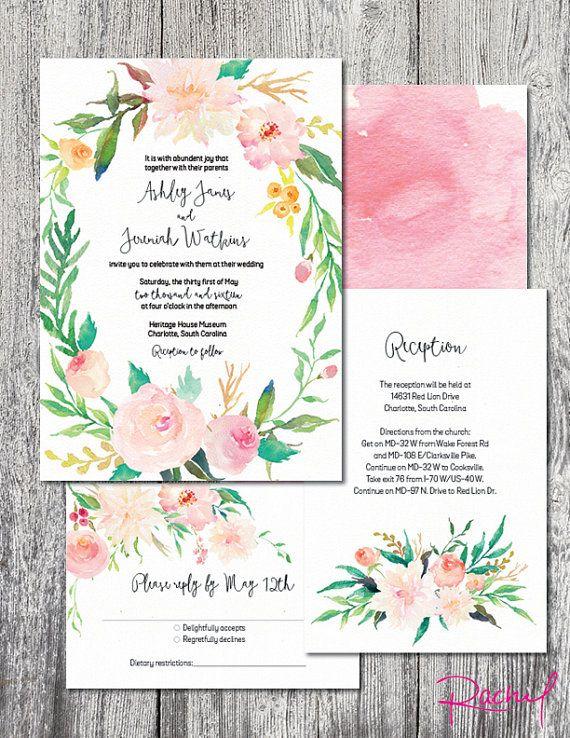 Wedding invitation watercolor wreath floral by RachelsWorkroom