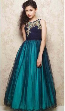 Aqua Blue Color Net A-line Style Party Wear Kids Gown Dress | FH519678922 #girls , #dress , #anarkali , #lehenga , #party , #gowns , #designer , #fashion , #boutique, #baby , #teenagers , #cloth , #readymade , #salwar , #kameez , #wear , #heenastyle , #online , @heenastyle , #ashin , #indian , #dupatta , #churidar , #ethnic