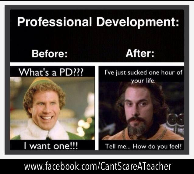 My hope as this year begins is that everyone still feels like the one on the left after PD (professional development) this fall and not the one on the right. ha!