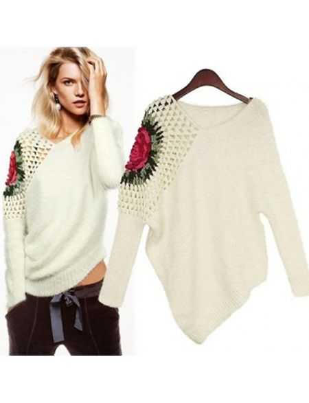 Graceful Knitting White Fashion Style Scoop Long Sleeve Sweaters & Knits