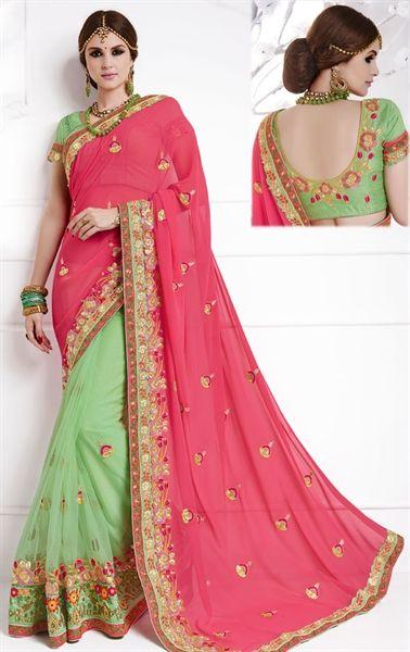 Picture of Iconic Pink and Honey Green Premium Designer Saree