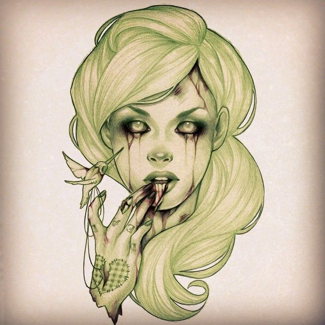 #FlashbackFriday to this zombie girl drawing I did a while back because I can't wait for it to be Halloween already!!! #Zombie #GlennArthurArt