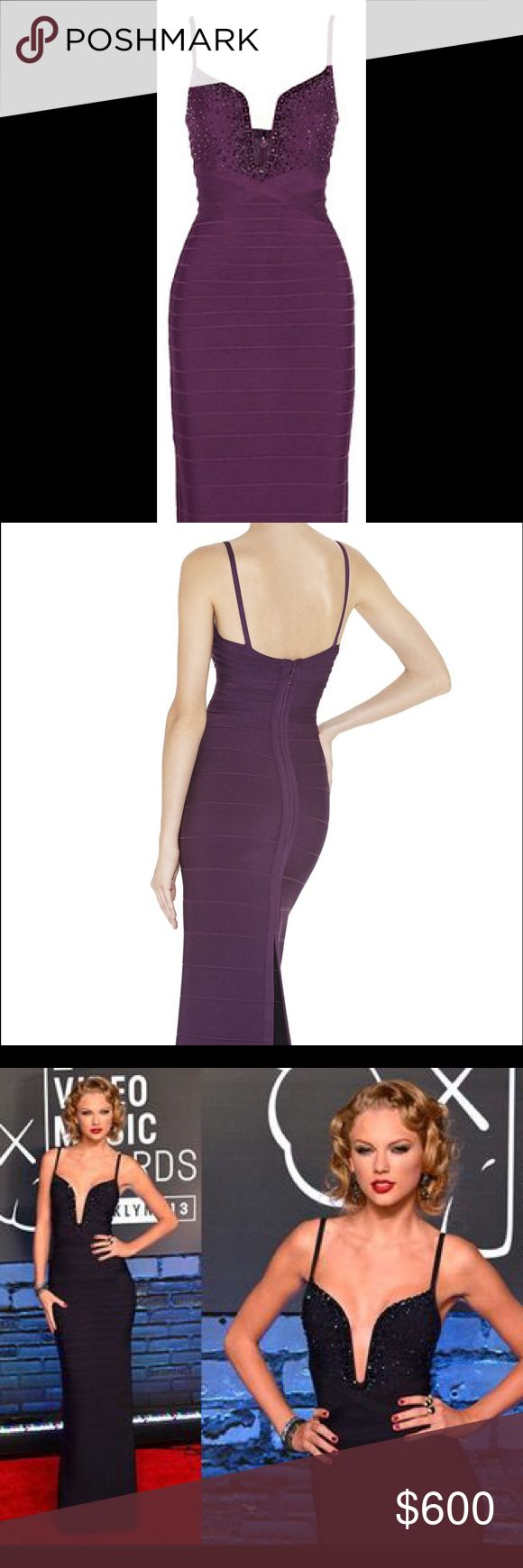 NWT Authentic Herve Leger Gown NWT never worn Herve Leger full length gown. It was purchased at the Herve Leger store in Beverly Hills and still has the tag and serial number that came with the purchase. Same design worn by celebrities like Taylor Swift. Size fits a 2-4. Herve Leger Dresses Prom