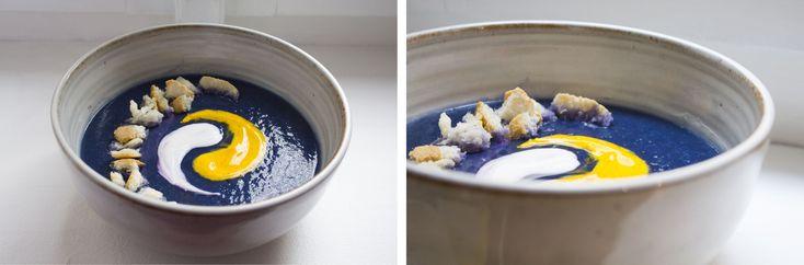 COLORI E CONTRASTI- Crema di cavolo viola con salsa di yogurt e zafferano - purple cabbage with yogurt and saffrons sauce!
