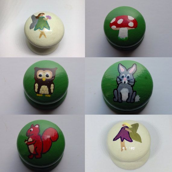 Woodland Fairy Drawer Knob, Cupboard Handle Hand Painted Set of 6, 3 Sizes Available 30mm, 40mm, 53mm Flower Fairy Girls Bedroom