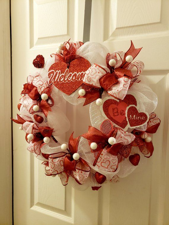 Happy Valentines Day Wreath Country Heart Valentine Wreath For Valentine Day Wreaths Diy Valentine S Day Decorations Diy Valentines Decorations