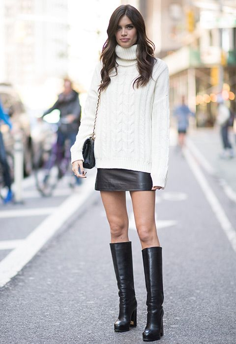 The truth is, you're going to see oversized roll necks more than your parents this winter. So, style yours up with a faux-leather mini and some major knee-high boots. Slip a sheer top underneath your jumper to make the after-dark transition smooth as poss, then add in a cutesy side bag for through-the-date retouches