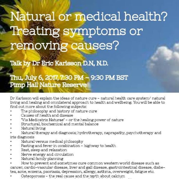 """We invite you to a very special talk on Nature Cure and Self-Healing by Dr Eric Karlsson D.N N.D.  Dr Karlsson will explain the philosophy of the science and art of nature cure - a holistic natural health care system/ natural living and healing and omnilateral approach to health and wellbeing. You will be able to find out more about the following subjects:  The philosophy and history of nature cure  Causes of health and disease """"Vis Medicatrix Naturae"""" - or the healing power of nature…"""