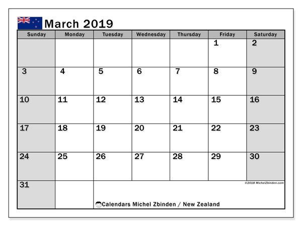 March 2019 Calendar New Zealand Calendar March January