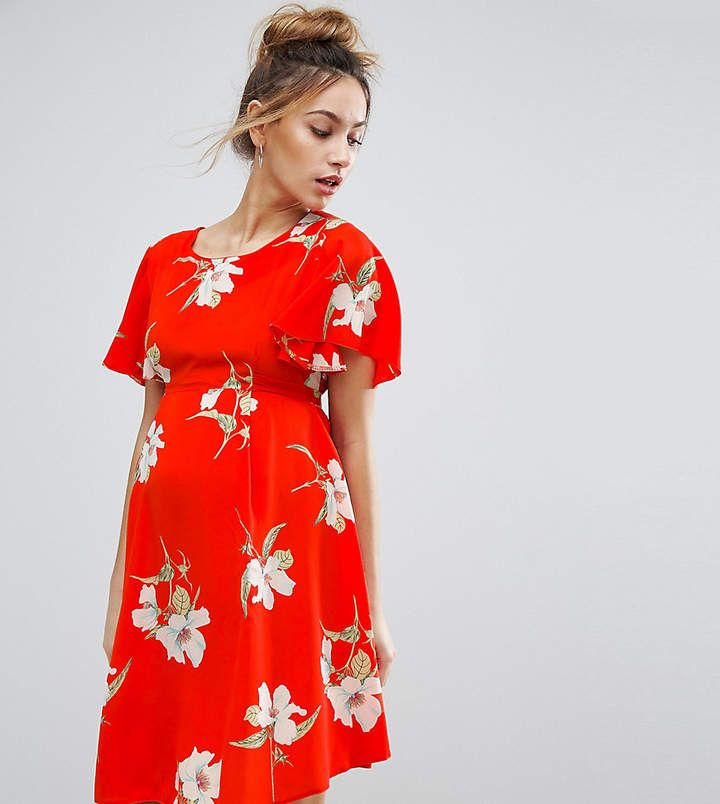$30 | I love this red floral maternity dress | Queen Bee Floral Tea Dress With Tie Back | maternity fashion | maternity clothes | maternity dress | maternity wardrobe | maternity outfit | floral maternity dress | spring maternity fashion | #ad