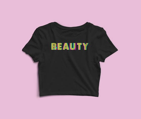 Women's Crop Tee - Beauty Crop Top - Workout Crop Top - Ladies Crop Tee - Gift For Her - Gym Top - Valentines Day. Beauty - Glam Workout Crop Top   A super soft crop top for ladies with edgy style. Trendy, with a light texture - this crop top is a summer must-have.