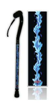 BFunky Mobility Walking Cane with Blue Flames by BFunky Mobility. $46.99. Cool Blue Flames adorn this adjustable walking cane. High-grade anodized aluminum cane is lightweight and strong. Ergonomic foam handle fits comfortably in your hand. Handy wrist strap included. Cane is adjustable from 29 to 39 inches in 1-inch increments. Designed in the USA and made to last.  Comes with our B-Happy 100% Money Back Guarantee if you are satisfied.