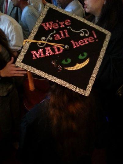decorate graduation cap, cheshire cat from Alice in Wonderland