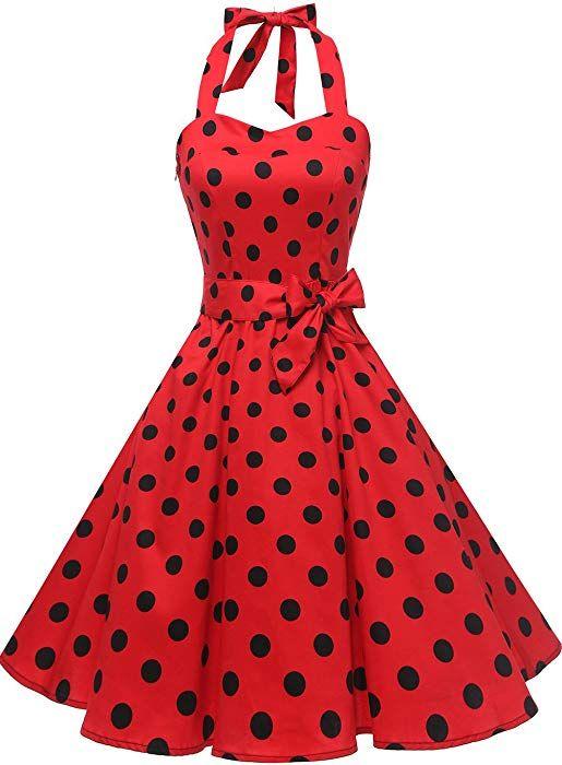 757681fa7e9 Topdress Women s Vintage Polka Audrey Dress 1950s Halter Retro Cocktail Dress  Red Black Dot 3XL at Amazon Women s Clothing store
