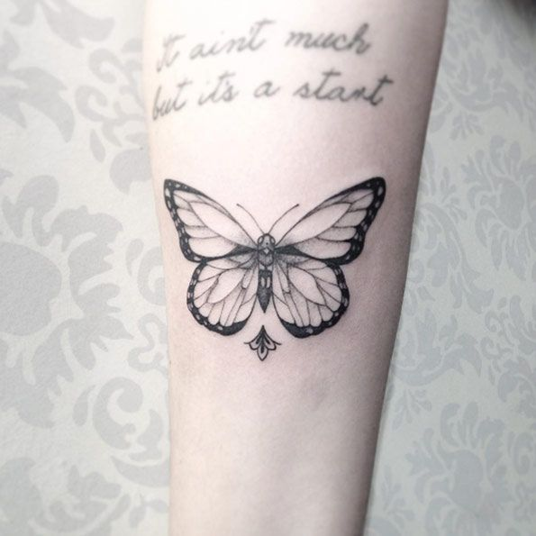 Blackwork Butterfly Tattoo by Sandra Cunha