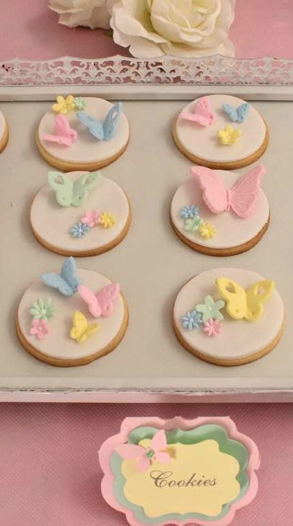 Butterflies Birthday Party fondant topped cookies! See more party planning ideas at CatchMyParty.com!