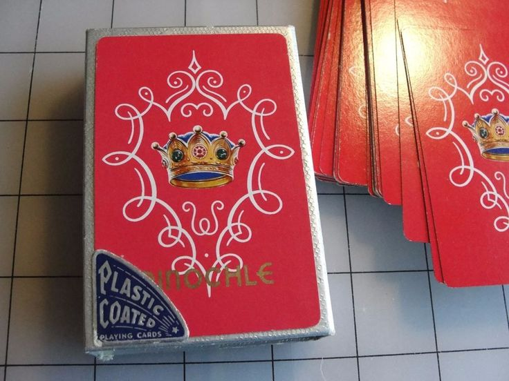 VINTAGE PO-DO DELUXE PLASTIC COATED PINOCHLE CARDS IN SILVER BOX #PODO