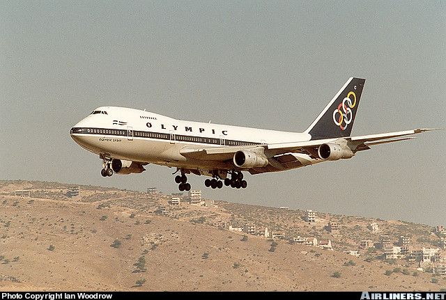 "Olympic Airways Boeing 747-212B SX-OAC ""Olympic Spirit"" on final approach to Athens-Ellinikon, September 1989. (Photo: Ian Woodrow)"