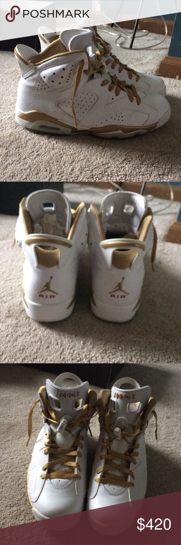 Jordan 6 rare white and gold edition size 10 GMP 6s white and gold size 10. Really rare Jordan limited edition comes with box and American flag. Shoes barely have been worn. As always my prices start pretty high but I'm always down to negotiate. Jordan Shoes Sneakers