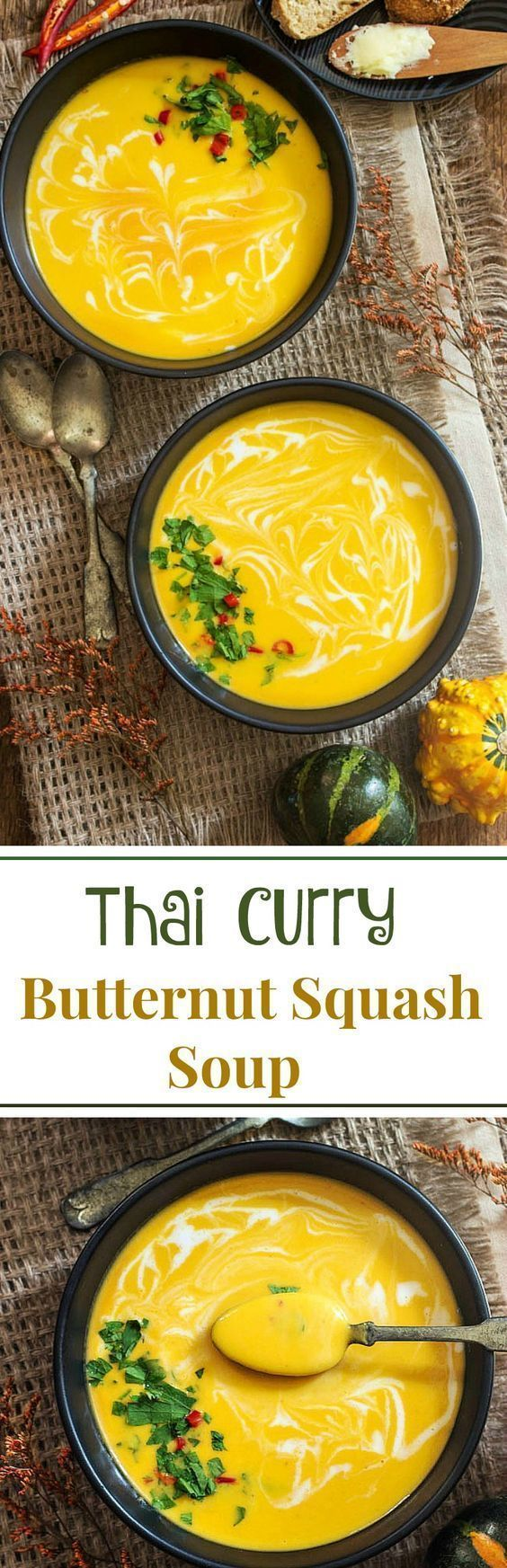 This Thai Curry Butternut Squash soup is the perfect transition from summer to fall because it's smooth, creamy and shines with bright, beautiful autumn colours.