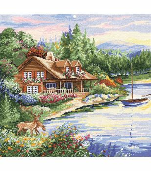 Design Works Counted Cross Stitch Picture Kit Lakeside Cabin