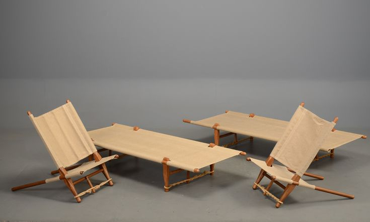 Danish canvas chairs and daybed set by Ole Gjerlov Knudsen.  Very rare by a lesser known designer. Arriving at vampt this week after its trek from Denmark