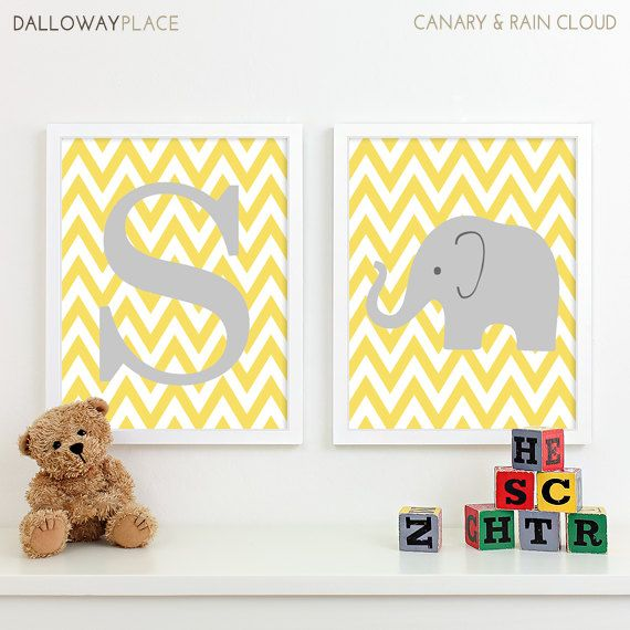 Chevron Elephant Nursery Decor, Kids Wall Art, Safari Nursery Art Prints, Baby Name Chevron Initial Letter Art, Baby Girl Nursery Art