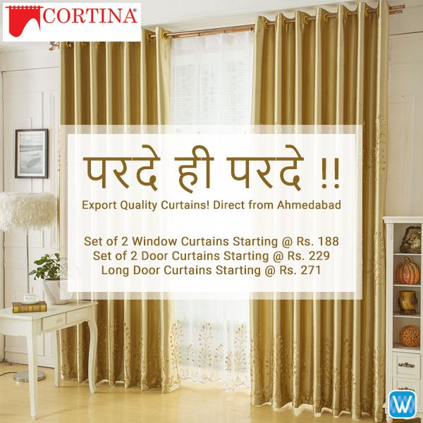 Retailers, buy curtains in bulk direct from Cortina (Ahmedabad) only on Wydr Wholesale E-Commerce. SuperFast Delivery! Assured WydrCash! Order now!