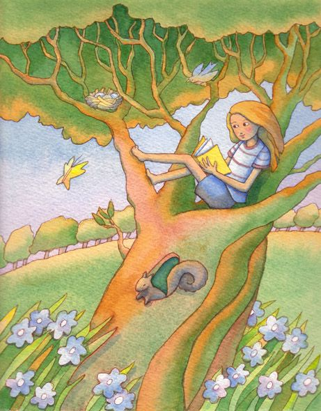 Reading Tree illustration by:Linda Prater -- via childrensillustrators - the fastest method of sourcing children's illustrators online