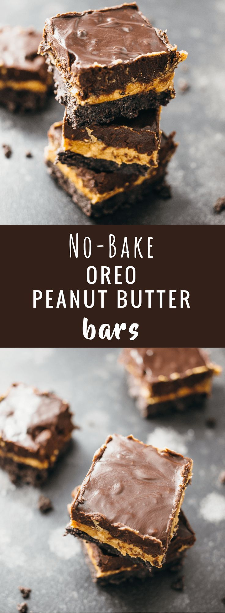 These no-bake Oreo peanut butter squares have three thick layers: Oreo bottom crust, thick and creamy peanut butter middle layer, and a rich chocolate frosting top layer. The peanut butter is the star of this show, for sure; there's an entire pound of peanut butter used! Both the chocolate and peanut butter layers are thick and rich, and the Oreo crust is crumbly but holds together. These bars are the perfect dessert recipe! - savorytooth.com