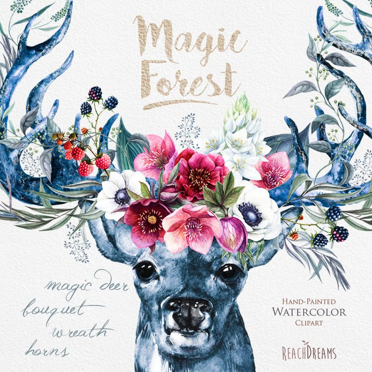 Watercolor Magic Deer, Antlers, Stag horns, Wild, Boho, Wedding flowers, Foliage, Bohemian, Tribe, Hand painted Clipart, Rustic, Invitation by ReachDreams